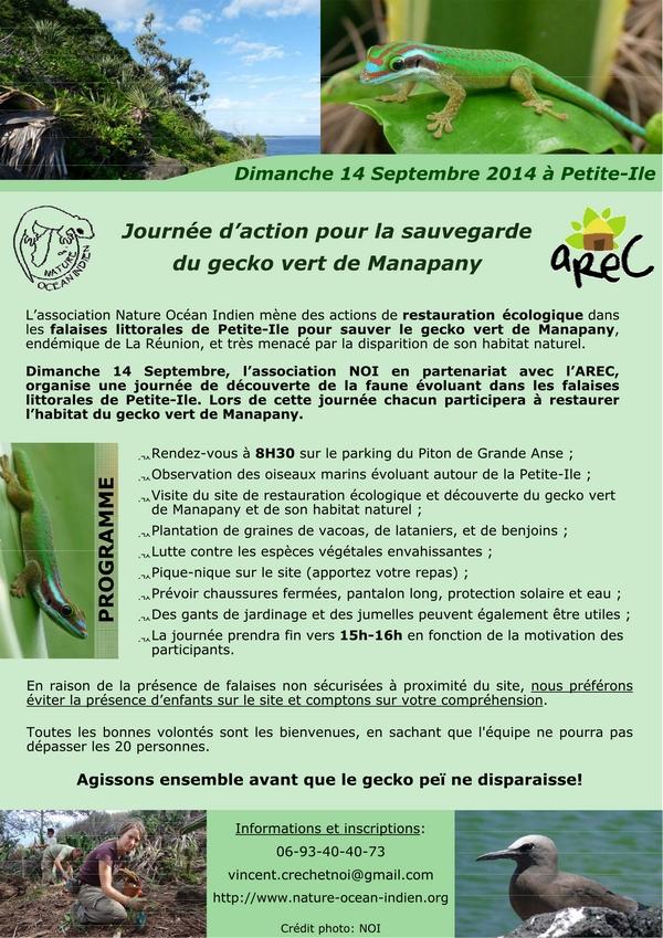 Journée d'action pour la sauvegarde du gecko de Manapany